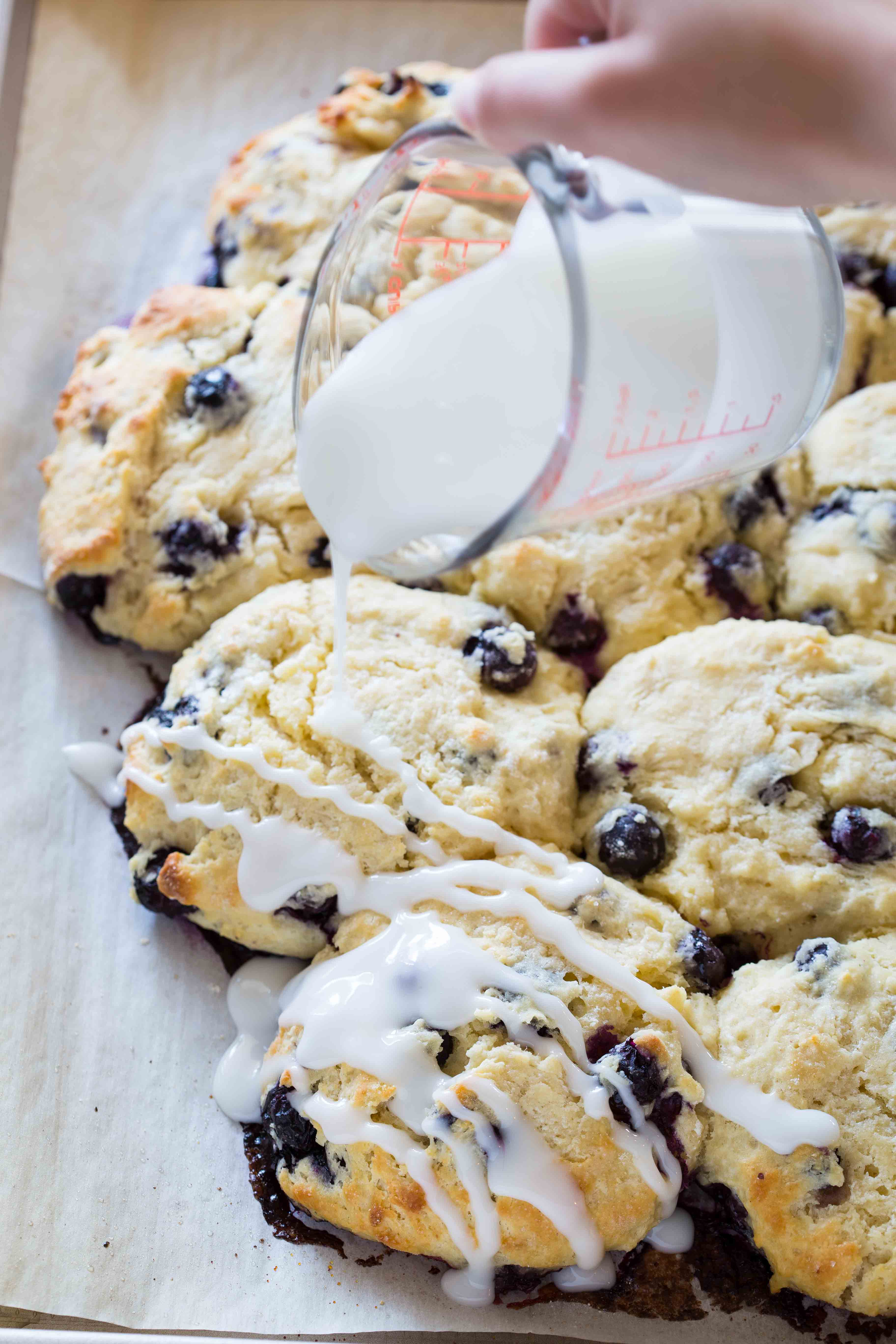 Blueberry Biscuits with Almond Glaze