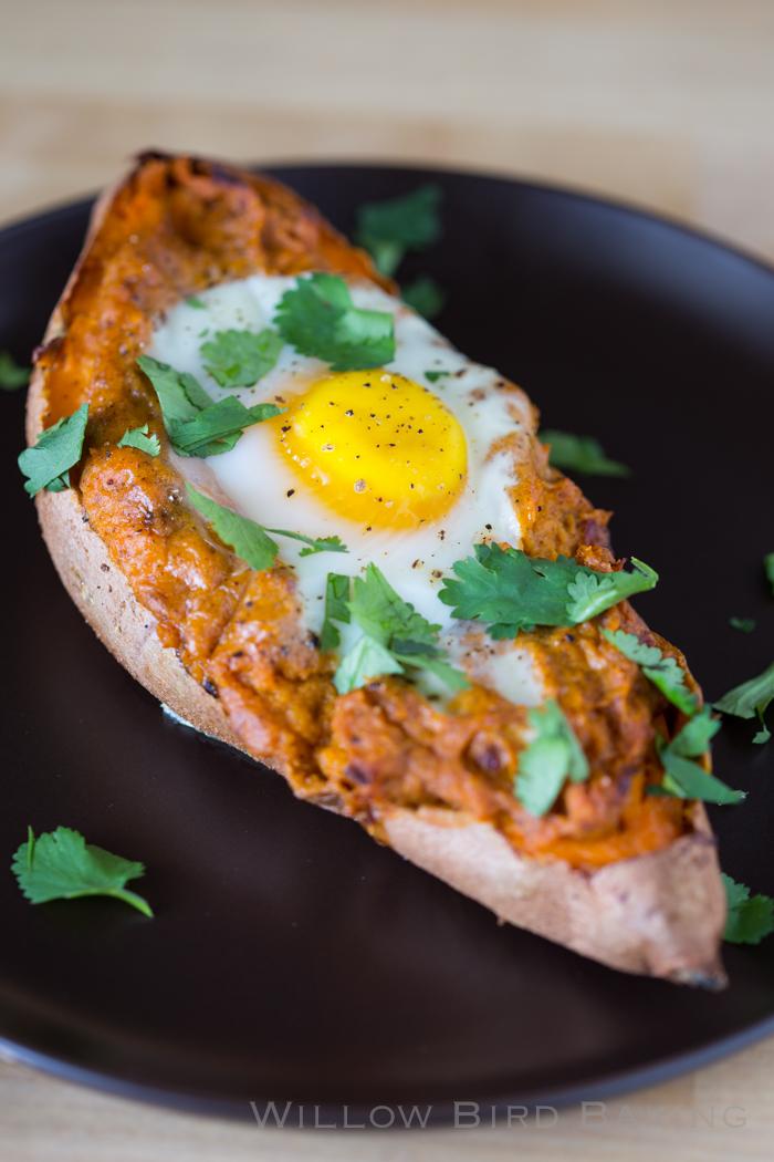 Twice-Baked Sweet Potato Egg Boats