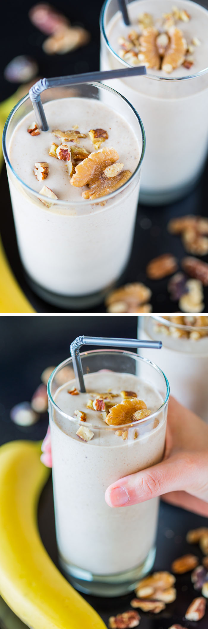 A recipe for a healthy vegan Banana Nut Crunch Smoothie with lots of protein, plus a chance to win a BlendTec Designer 725 Blender and Twister Jar!