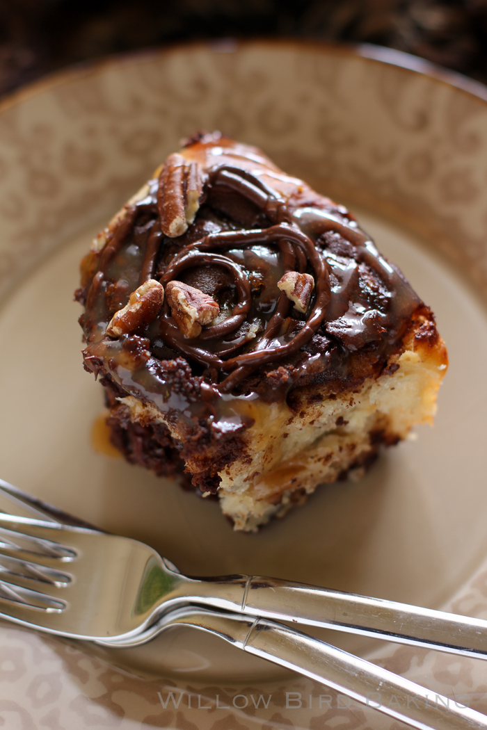 Gooey Turtle Brownie Sticky Buns