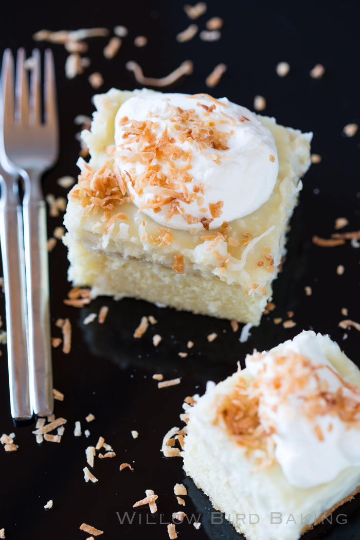 Coconut Cream Snack Cake - Willow Bird Baking