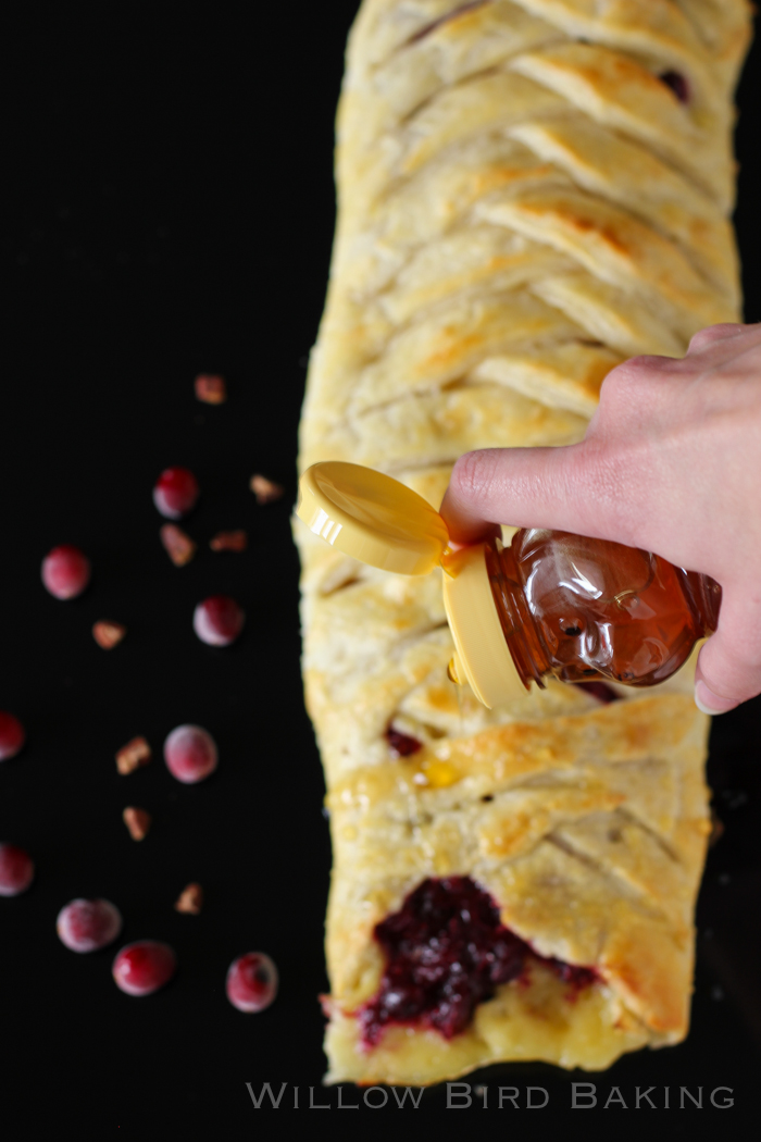 Honey-Drizzled Cranberry Brie Pastry Braid