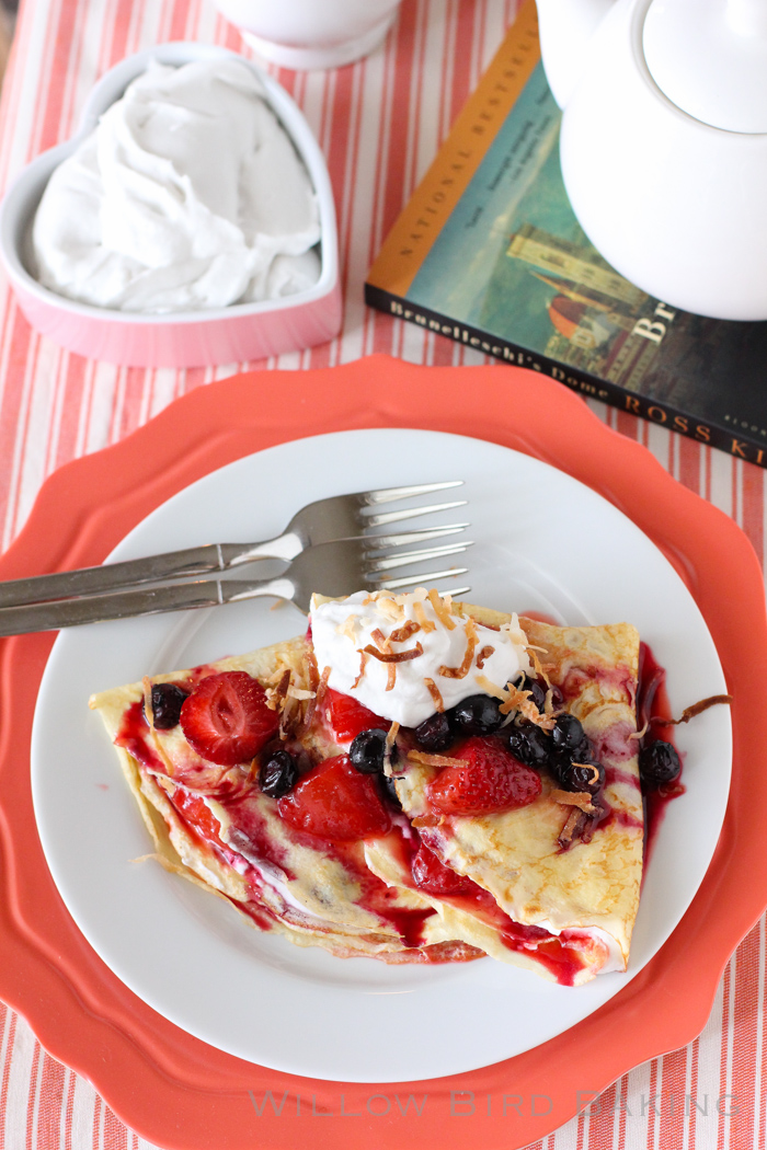 Crêpes with Roasted Berries and Coconut Whipped Cream
