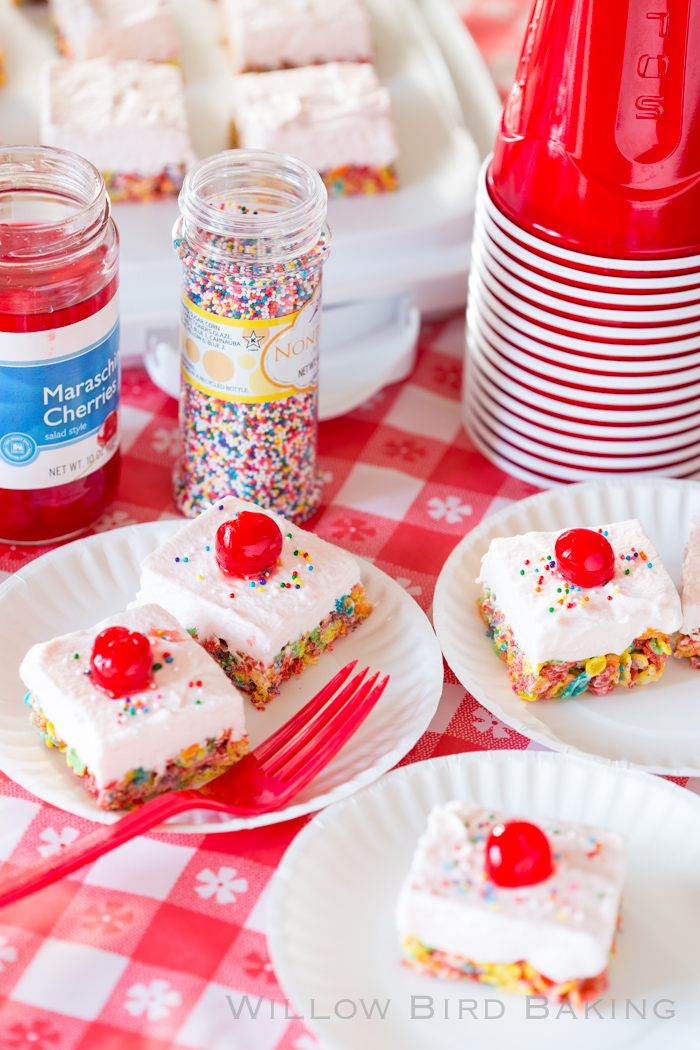 Cherry Cream Fruity Pebbles Bars