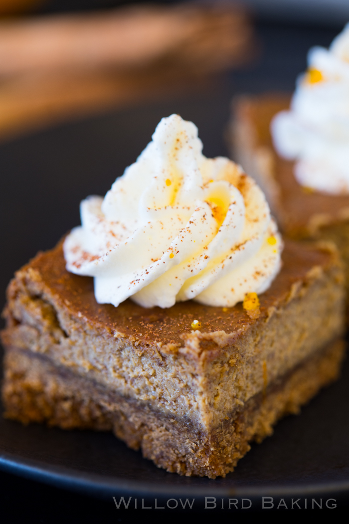 Gingerbread Cheesecake Bars with Orange Whipped Cream - Willow Bird ...