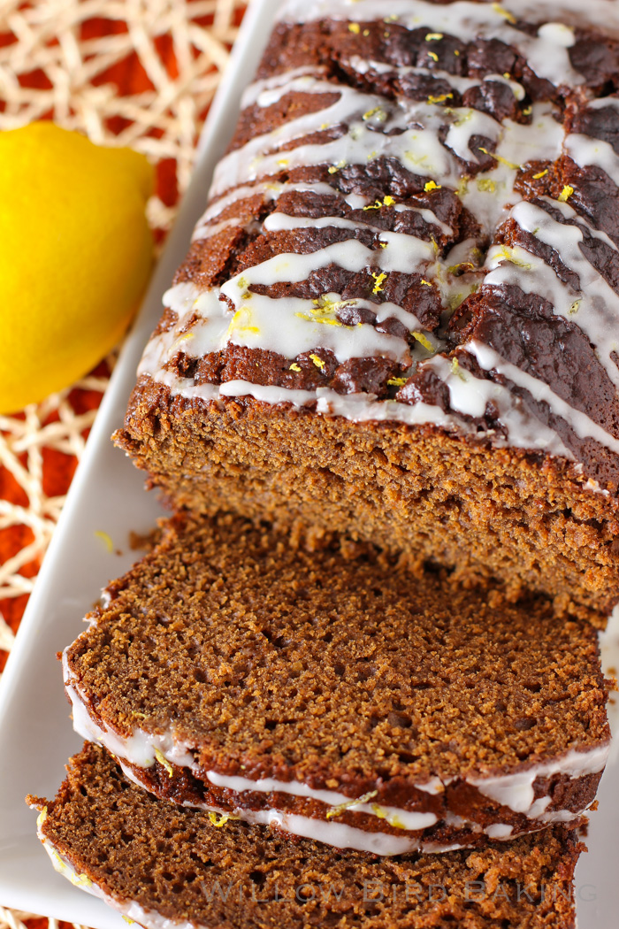 Gingerbread Quick Bread with Lemon Glaze