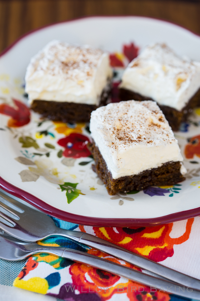Spiked Gingerbread Cream Bars (for SERIOUS Gingerbread Lovers)