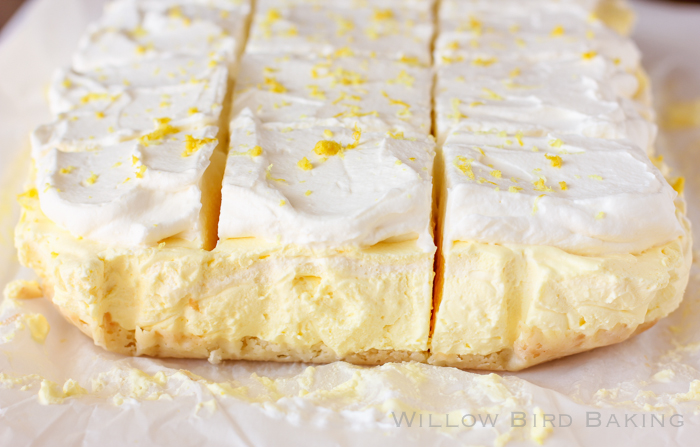 Lemon Cream Pie in bar form -- perfect for an Easter dessert zing ...