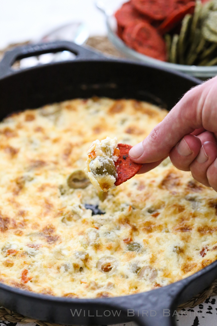 Warm Cheesy Olive Dip