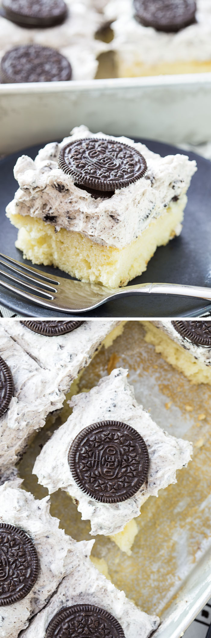 Sheet Cake with the BEST Cookies and Cream Whipped Icing Recipe