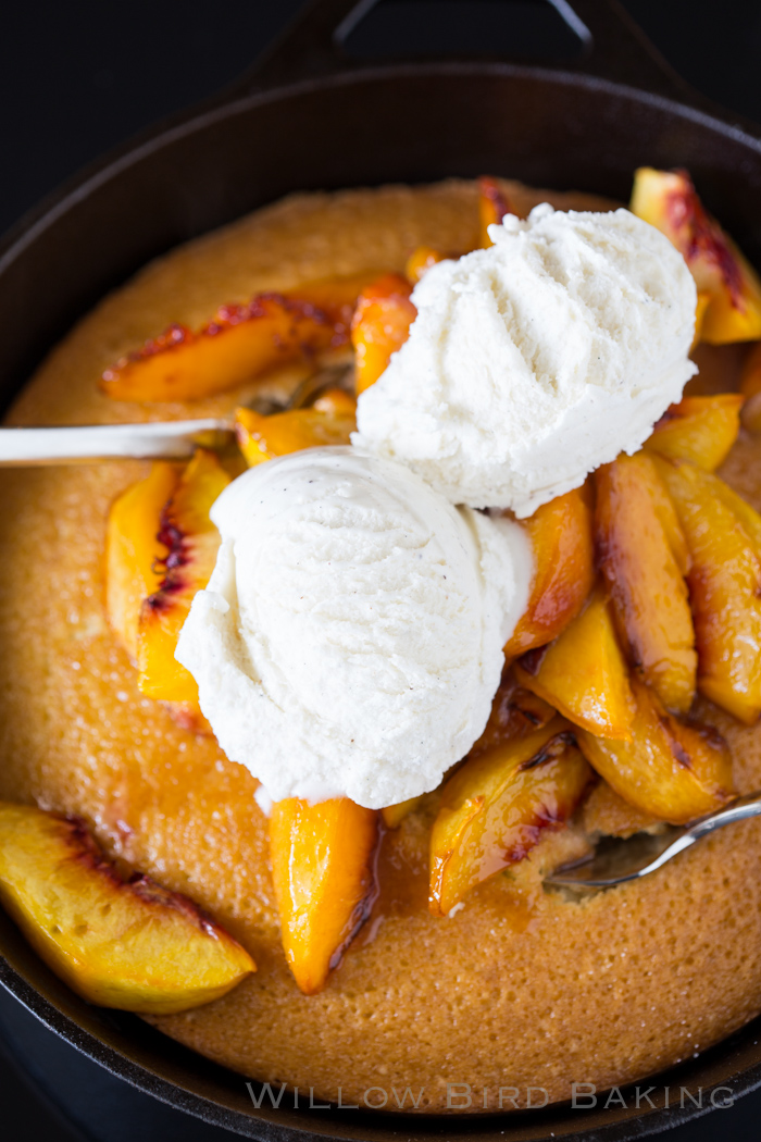 Roasted Peach Skillet Cake Recipe