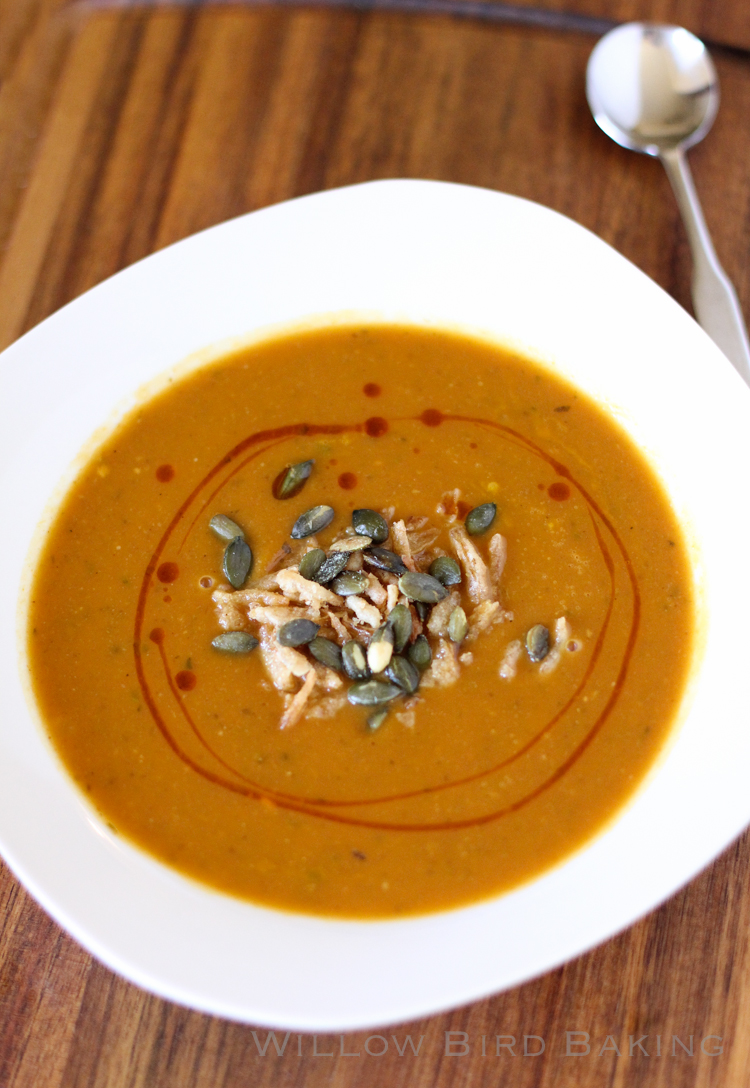 Spicy Pumpkin Soup with Croutons and Crispy Fried Onions