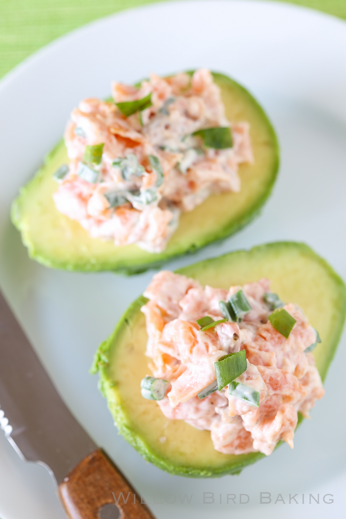 Smoked Salmon Salad in Avocado Boats - Willow Bird Baking