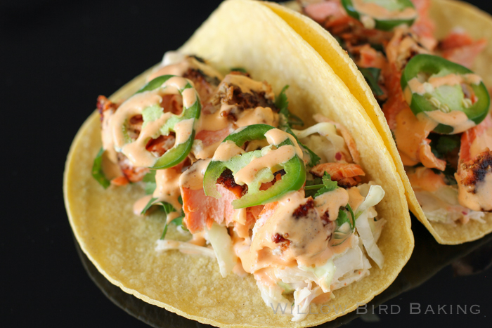 Salmon Tacos with Cilantro-Lime Slaw