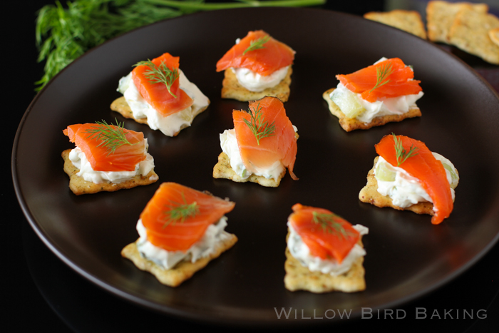 Salmon tzatziki canap s willow bird baking for Canape spread