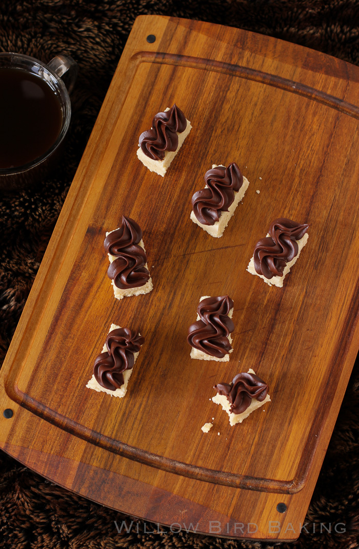 Shortbreads with Dark Chocolate Frosting