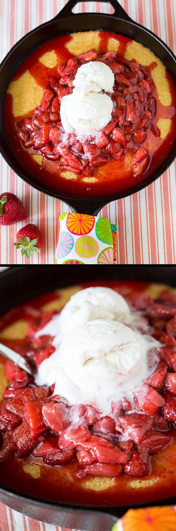 Hot Strawberry Cake with Ice Cream