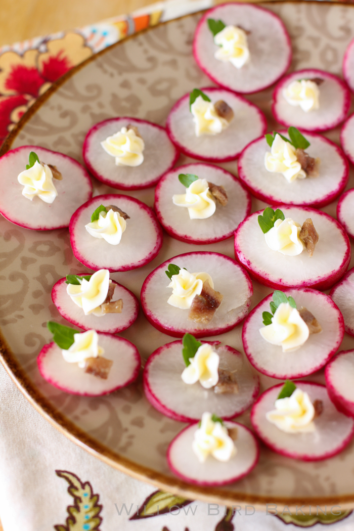 Radishes with Whipped Butter, Anchovy, and Parsley