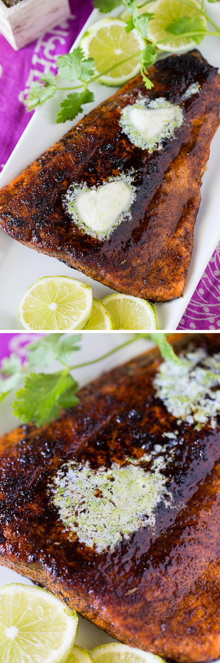 Chile Baked Salmon with Lime Butter