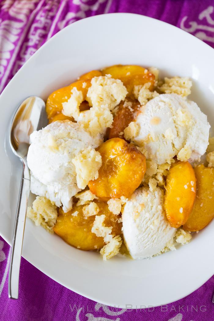 Roasted Peaches and Shortbread Ice Cream Sundae