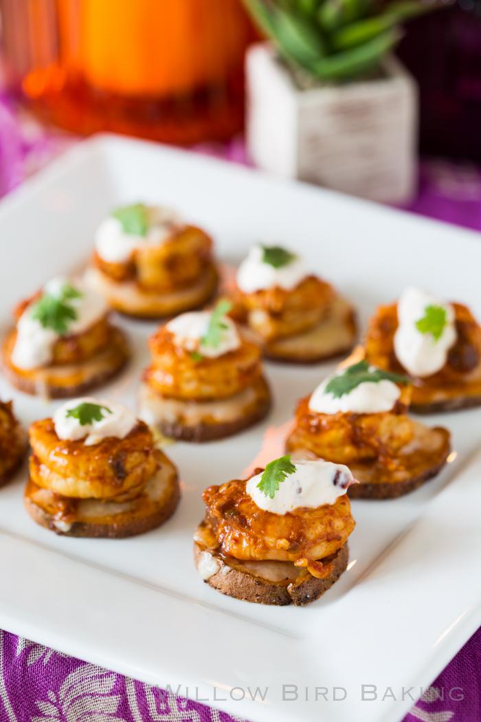 Cheesy Chipotle Shrimp Sweet Potato Coins