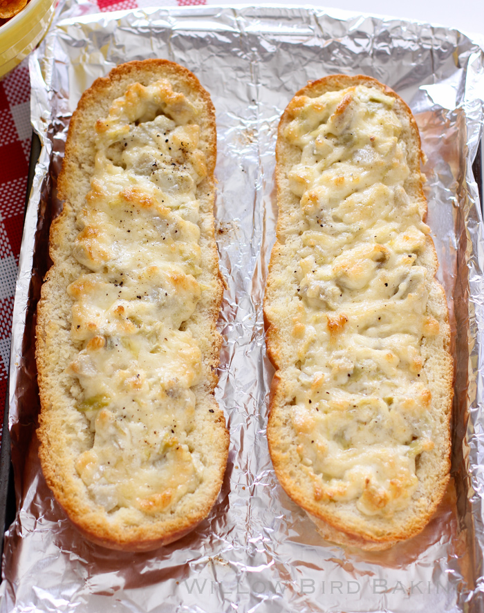Easy Cheesy Artichoke Dip in a Baguette
