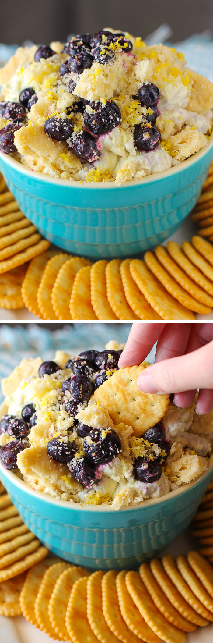 Lemon Blueberry Shortbread Cheesecake Dip