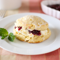 Almond Scones with Raspberry Jam and Clotted Cream
