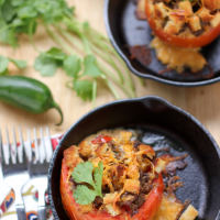 Sausage & Toast Breakfast Strata in Baked Tomatoes